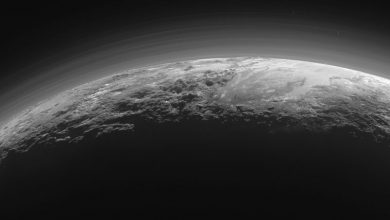 An image of Pluto's majestic mountains, frozen plains and foggy hazes. This image was taken around 15 minutes after New Horizon's closest approach to Pluto in 2015. Image Credit: New Horizons / NASA/JHUAPL/SwRI.