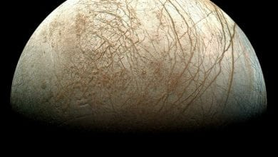 An image of Jupiter's Moon Europa, a candidate for being home to alien life. Image Credit: NASA.