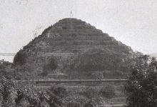 A frontal view of the pyramid that once stood in France.