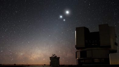An image of the night sky over ESO's Very Large Telescope (VLT) observatory at Paranal. In the image, the Moon shines along with two bright companions Venus and Jupiter. Image Credit: Wikimedia Commons.