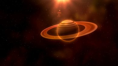 An artists rendering of a planet with rings. Storyblock.