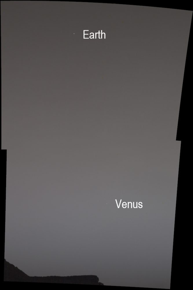 Annotated Image showing Earth and Venus as seen from Mars. Image Credit: NASA/JPL-Caltech/MSSS/SSI.