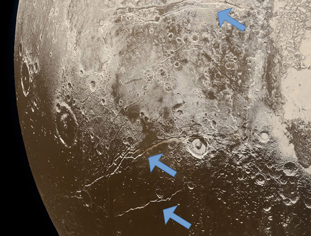 Extensional faults (arrows) on the surface of Pluto indicate expansion of the dwarf planet's icy crust, attributed to freezing of a subsurface ocean. (Image credit: NASA/Johns Hopkins University Applied Physics Laboratory/Southwest Research Institute/Alex Parker).
