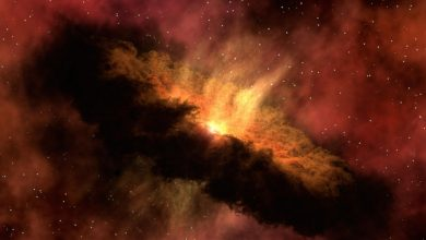 An illustration showing a distant galactic dust cloud. Jumpstory.