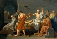 Death of Socrates. Painting by Jacques-Louis David depicting his death by poisoning.