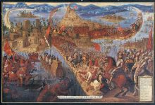 The Conquest of Tenochtitlán after which Hernan Cortes brought the end of the Aztec Empire.