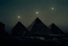 An artist's Illustration of the pyramids aligning to the stars.
