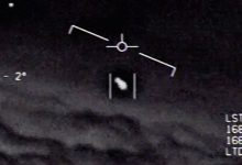 Screenshot from a declassified video of a UFO encounter in 2004.