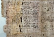 Section from the Rhind Mathematical Papyrus, stored in the British Museum.