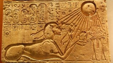 An ancient Egyptian illustration showing the worship of the sun disk Aten.