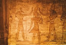 An image of King Ramesses II between Set and Horus. An illustration located in the small temple at Abu Simbel.
