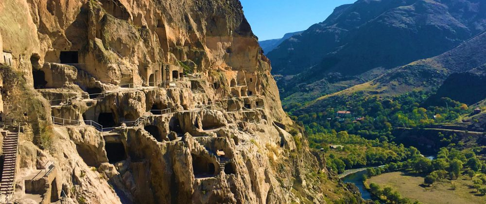 The Vardzia Cave Monastery presents a magnificent view of Georgia's countryside while it is also a magnificent sight itself.