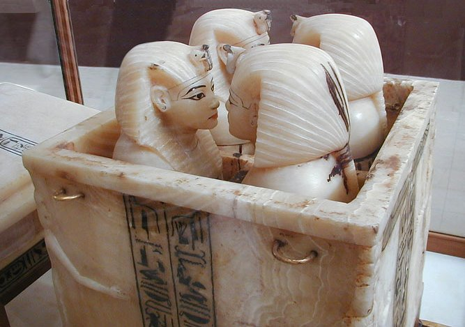 The famous canopic chests or jars of Tutankhamun.