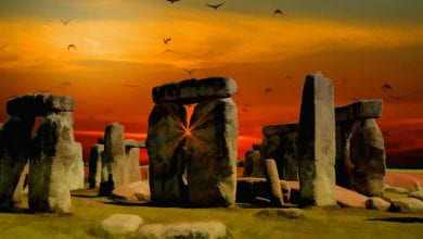 An artists illustration of the standing stones of Stonehenge. Jumpstory.