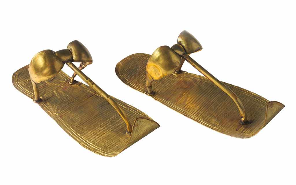Tutankhamun's sandals as found in his tomb.