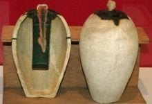 A Baghdad Battery displayed in a museum. Since several of these artifacts were stolen in 2003, few photographs have been published.