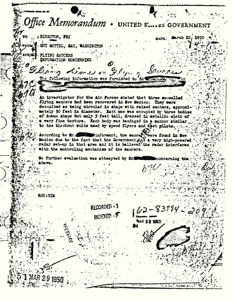 A screenshot of the Guy Hottel Memo. Image Credit: FBI Vault.