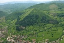 The largest alleged Bosnian Pyramid, the Pyramid of the Sun, standing near the city of Visoko.