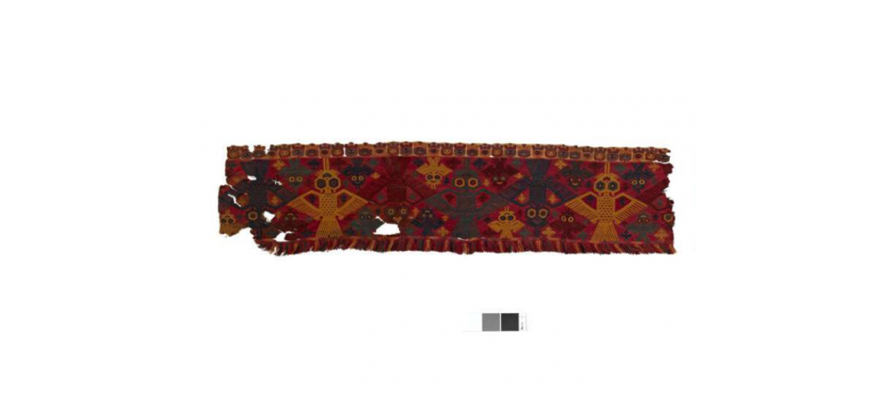 Rectangular border fragment with fringe, depicting birds in several colors. Source: British Museum