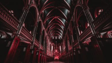 The interior of a cathedral with red color. Jumpstory.