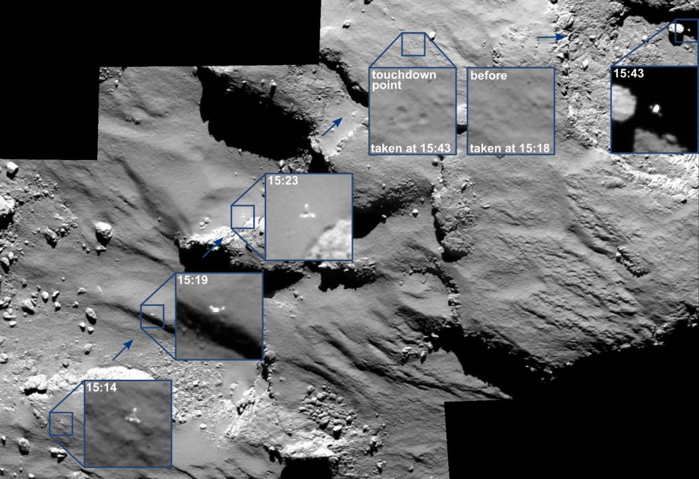 Images by the OSIRIS imaging system showing how the Philae space probe rebounded from the soft surface of the comet.