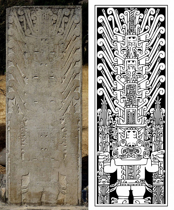 On the left - the original Raimondi stele as found in Chavin de Huakar. On the right, a drawing presenting how it should have looked in ancient days. Source: Khan Academy
