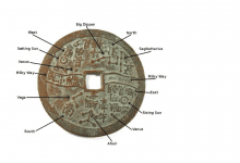 An image with a description of the ancient Chinese astro coin. Image Credit: Primaltek.