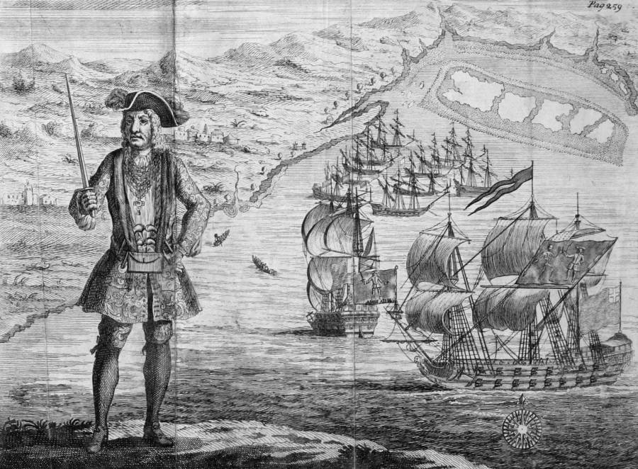 An old sketch of pirate Bartholomew Roberts in front of his two ships. Credit: All That's Interesting