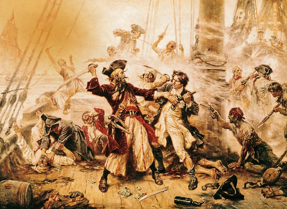 A 1718 oil painting depicting the final moments before the death of the famous Blackbeard. Credit: National Geographic