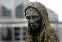One of the sculptures from the Great Famine Memorial in Dublin. Credit: The Journal