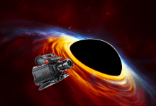 An artistic impression of a spinning black hole with its surrounding accretion disc. What if we send a transmitting camera into a black hole? Credit: ESA/Hubble, ESO, M. Kornmesser