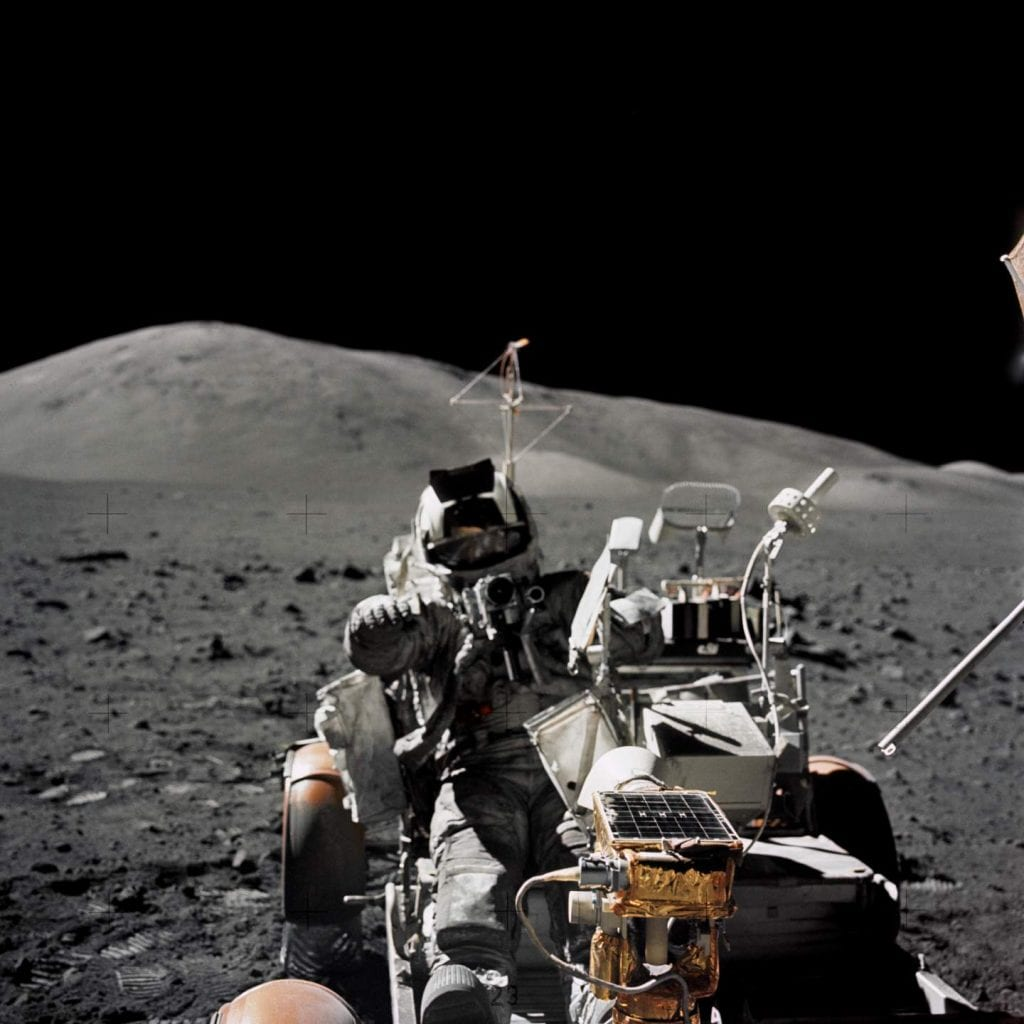 Image from the last Moon landing during Apollo 17 and Scientist-astronaut Harrison H. Schmitt seated on the Lunar Roving Vehicle (LRV) which he drove for 32 miles on the lunar surface. Credit: Smithsonian National Air and Space Museum / NASA