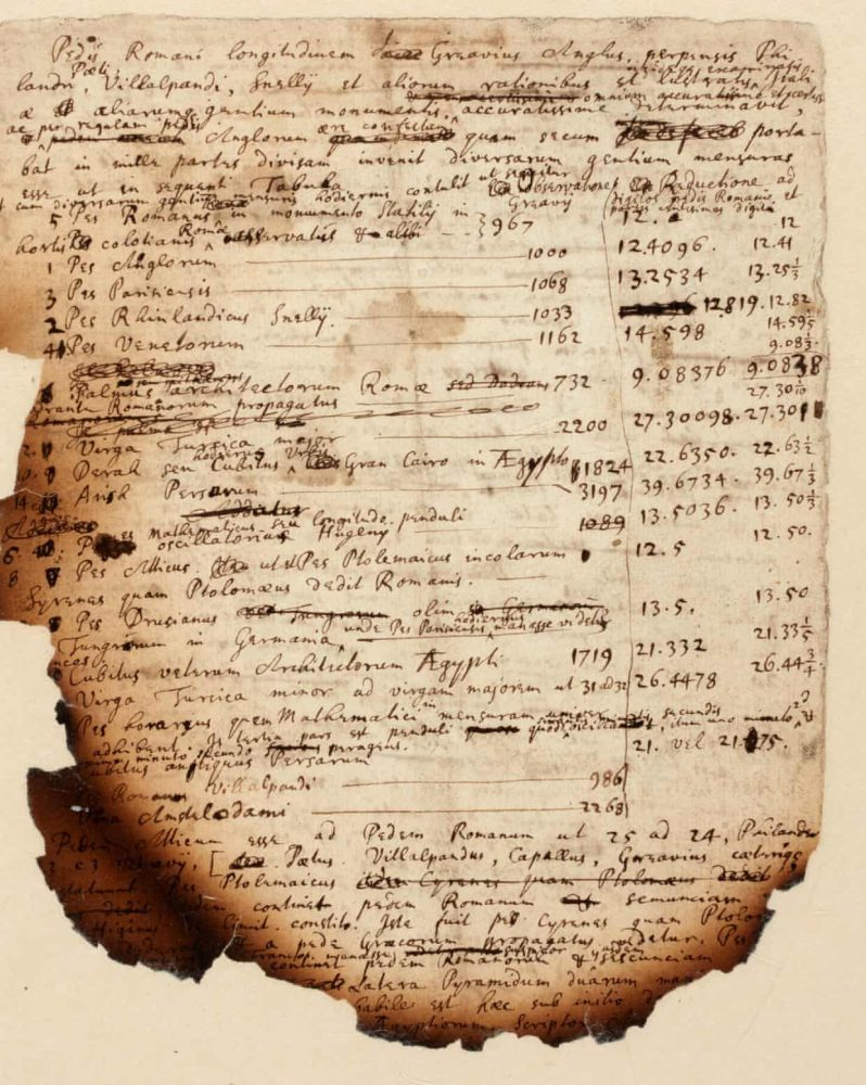 A scan of the handwritten notes of Sir Isaac newton on his investigation on the Egyptian pyramids. Image Credit: Sotheby's.