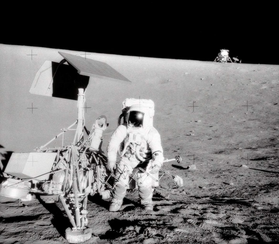 Charles Conrad Jr., commander of the Apollo 12 mission photographed next to the Surveyor III lander. Credit: Smithsonian National Air and Space Museum / NASA