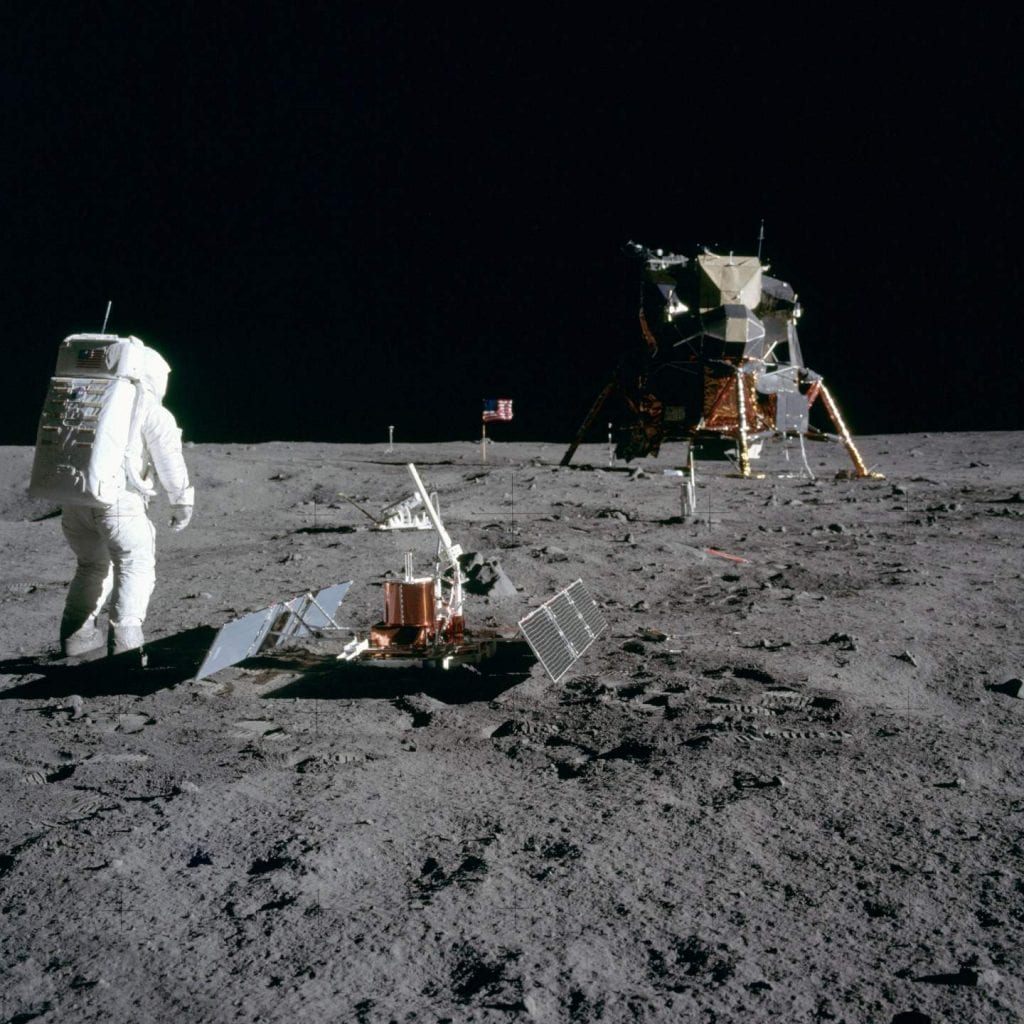 Moon Photo of Buzz Aldrin next to the Passive Seismic Experiments Package used to extract soil samples during the Apollo 11 mission. Credit: Smithsonian National Air and Space Museum / NASA
