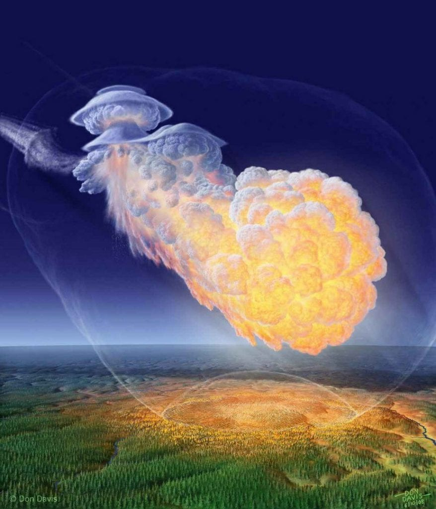 Artistic impression of the Tunguska meteorite based on eyewitness reports. Of course, the whole Tunguska Event may or may not have been a meteorite after all. Credit: Don Davis