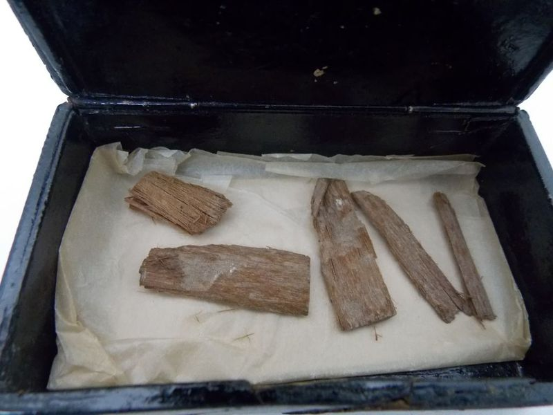 The cedarwood fragments once discovered in the Great Pyramid of Giza. Credit: University of Aberdeen