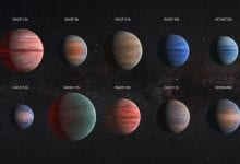 Artistic take on ten Hot Jupiters. Despite their proximity to their stars, they vary in color or at least this is what scientists believe. Credit: ESA/Hubble & NASA