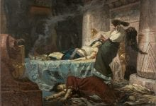 """The Death of Cleopatra"", a 1881 painting by Juan Luna. We can safely say that her death was a result of the disastrous game of propaganda between Octavian and Mark Antony. Credit: Wikimedia Commons"