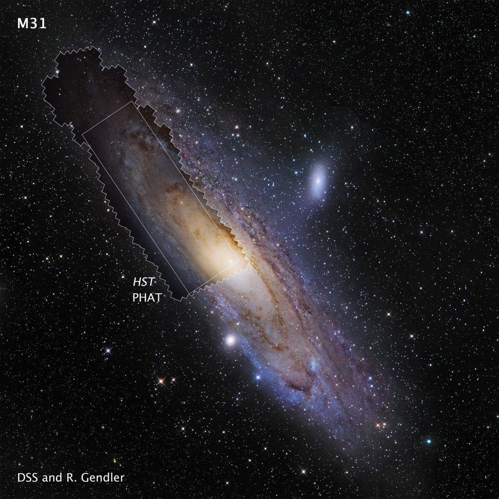 You can see how the mosaic image fits into the ground-based image of the entire Andromeda Galaxy. Credit:NASA, ESA and Z. Levay (STScI/AURA); PHAT Mosaic: NASA, ESA, J. Dalcanton, B.F. Williams, L.C. Johnson (University of Washington), the PHAT team and R. Gendler; Ground-based Background Image of M31 (c) 2008 R. Gendler