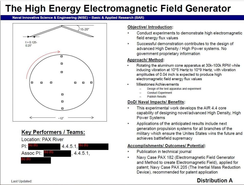 "An overview of the High Energy Electromagnetic Field Generator technology discussed in detail in the new ""UFO patents"". Credit: The Drive"