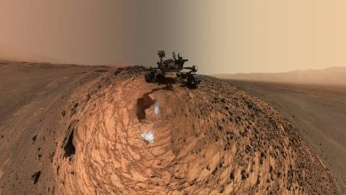 "A low-angle ""selfie"" by the Curiosity Mars rover from one of the sample collection missions in the Gale Crater. Credit: NASA/JPL-Caltech/MSSS"