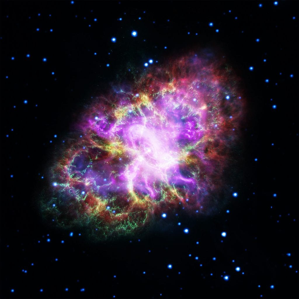 The magnificent Crab Nebula, remnant of a supernova explosion which was seen by Medieval astronomers in the 11th century. Credit: NASA, ESA, G. Dubner (IAFE, CONICET-University of Buenos Aires) et al.; A. Loll et al.; T. Temim et al.; F. Seward et al.; VLA/NRAO/AUI/NSF; Chandra/CXC; Spitzer/JPL-Caltech; XMM-Newton/ESA; and Hubble/STScI