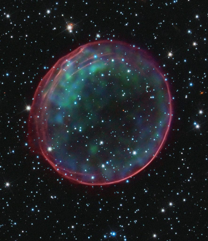 Hubble image of supernova remnant 0509-67.5. Credit: NASA, ESA, and B. Schaefer and A. Pagnotta (Louisiana State University, Baton Rouge); Image: NASA, ESA, CXC, SAO, the Hubble Heritage Team (STScI/AURA), and J. Hughes (Rutgers University)