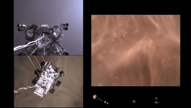 Screenshot from NASA's video of Perseverance landing on Mars. Credit: NASA