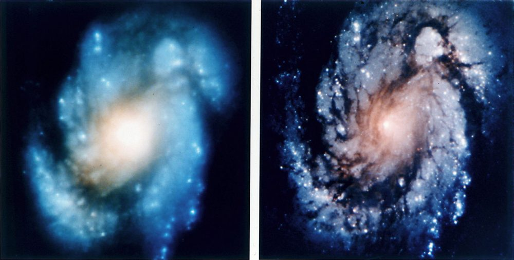 Photo before (left) and after the correction. Credit: NASA
