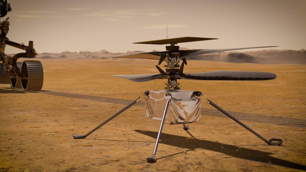 Here is how Ingenuity will look like on the surface of Mars once it detaches from the Perseverance rover. Credit: NASA/JPL-Caltech