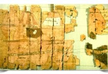 Several fragments of the detailed Turin Papyrus Map. Credit: HistoryCollection