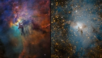 These two images of Messier 8, otherwise known as the Lagoon Nebula, show two different views of the object. On the left, we see a visible-light image that shows the gas and dust clouds while the near-infrared image on the right shows us the stars behind the clouds. This object is a definite must-see during the Messier Marathon. Credit: NASA, ESA and STScI