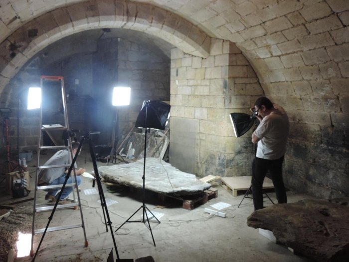 The stone slab was rediscovered in the cellar of a castle. Credit: P. Stephan, Clément Nicolas, Yvan Pailler